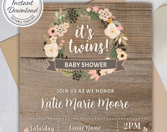 It's Twins! Rustic Wreath Baby Shower Theme Invitation, Wood Background Invite, Baby Sprinkle Flower Invitation Editable, Instant Download