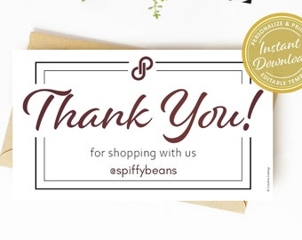 Poshmark Thank You Small Business Card Size | Personalized with Closet Shop Name | Custom Shopping Note | Professional Mail Package Look