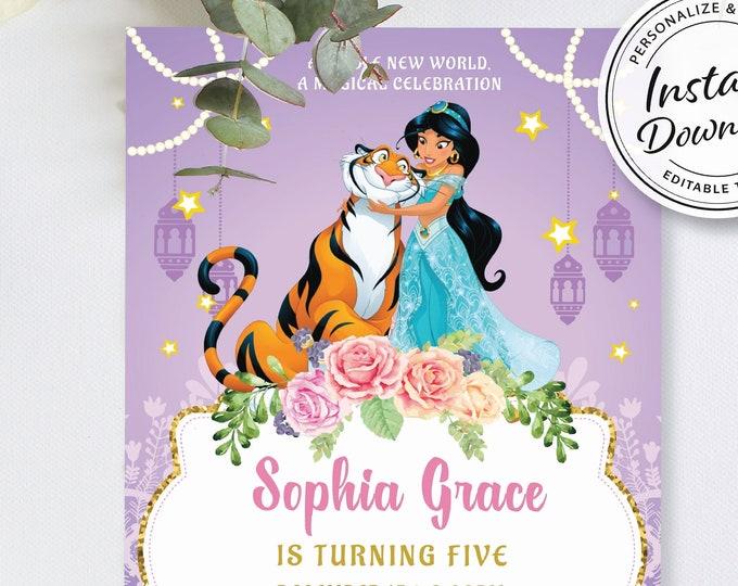 Princess Jasmine Birthday Invite, Aladdin Party Invitation, Lantern Girl Theme, Arabian Middle Eastern, Custom Raja Purple Editable Ideas