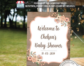 Floral Wreath Rustic Shower Theme Party Poster board, Welcome Sign Editable Template, Printable Sign, Welcome to Baby Shower, DIY Word Idea
