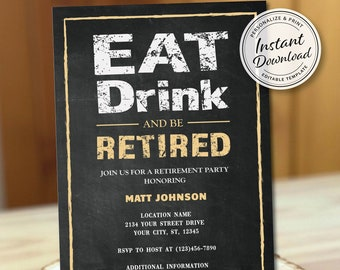 Man Retirement Party Invitation, Classic Distressed Chalk Effect Invite Template, Eat Drink Be Retired, Stylish Surprise Blackboard Gold Men