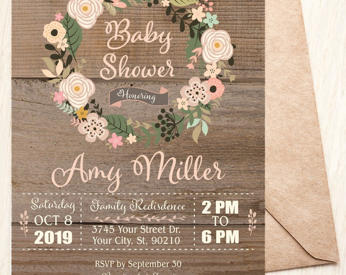 Floral Wreath Rustic Baby Girl Shower Theme Invitation, Baby's Breath Baby Shower Invite, Baby Sprinkle Flower Invitation Printable Instant