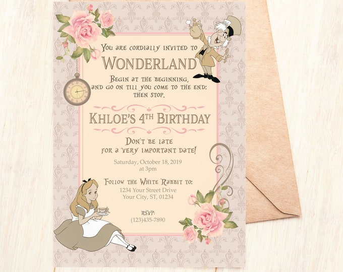 Alice in Wonderland Theme Magical Inspired Birthday Invitation, Little Girl Vintage Mad Hatter Party Handmade DIY, Personalized Printed Tea