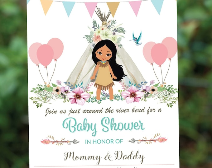 Boho Chic Baby Shower Invitation | Pocahontas Sprinkle Party | Native American Watercolor Invite | Teepee Greenery Themed Editable | Instant