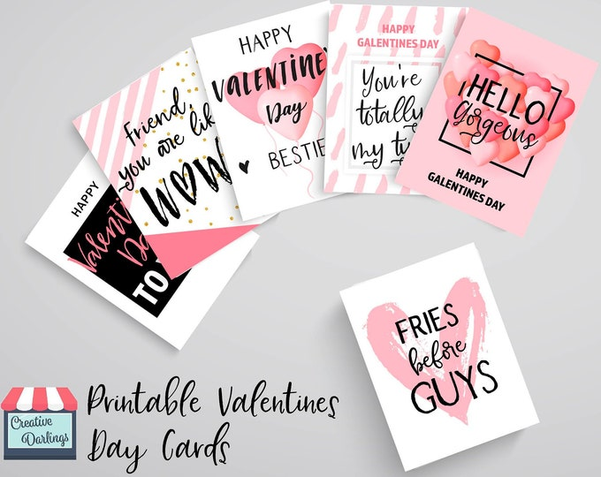 Galentine's Day Cards to Send to Your Fave Females, Printable Tags for Baes Valentine's Gifts, Best Friend Instant Download Note Ideas DIY