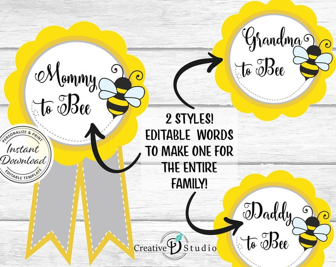 Bee Baby Shower Mom-to-be Pin, Printable DIY Badge, Bumble Pins for Mum, Grandma, Dad to be, Instant Download Digital Print, Queen Corsage