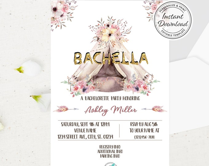 Bachella Boho Chic Bachelorette Invitation, Bohemian Music Festival Theme Bridal Shower, Watercolor Floral Invite, Teepee Instant Download
