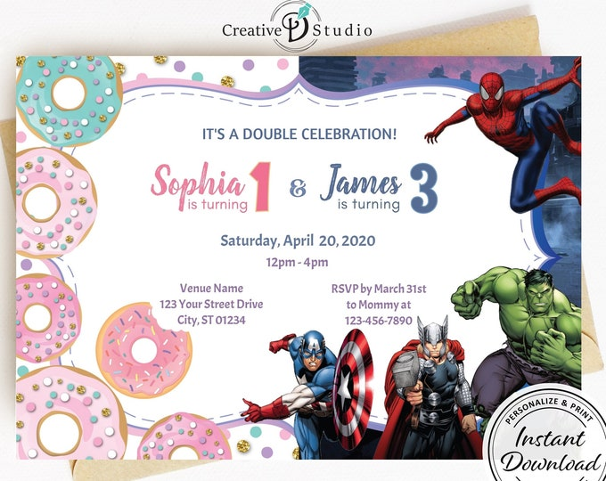 Combined Party Invitation Template, Joint Boy Super Hero and Girl Pastel Pink Donuts, Combo Birthday Invite Idea, Glitter detail, Heroes red