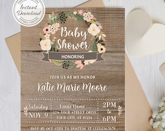 Floral Wreath Rustic Baby Shower Theme Invite, Personalized Rose Wood Idea, Unisex Baby Sprinkle Boy Girl, Editable Print Instant Download