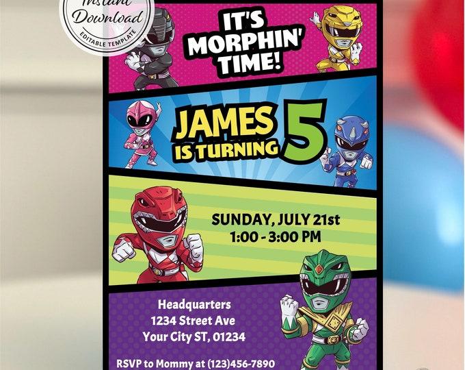 Original Power Rangers Birthday Party Invitation, Super Hero Kid Invite, Printable Boy Theme, Mighty Morphin Ideas, Instant Download, Comics