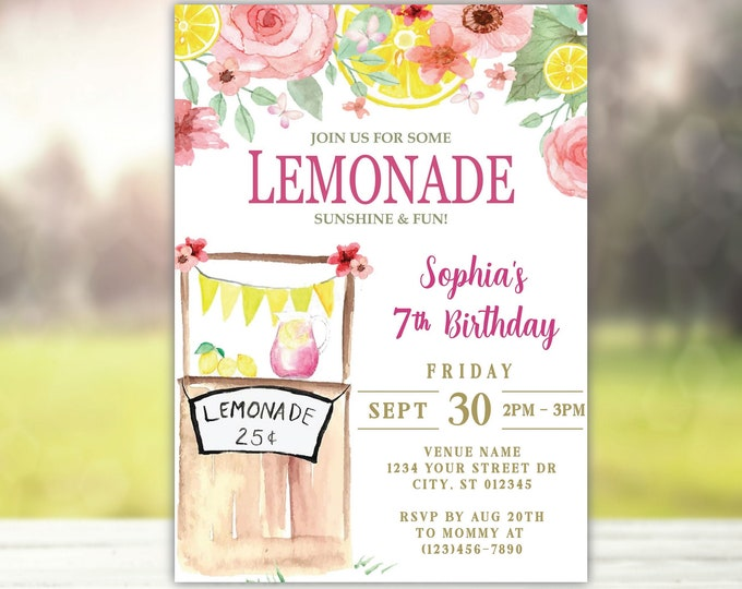 Pink Lemonade Stand Themed Birthday Party Invitation | Cute Fun in the Sun idea, Watercolor Rose, Lemon, butterfly accents | 1st bday Invite