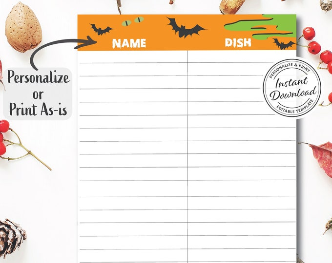 Halloween Potluck Sign-up Sheet | Editable Digital Template | Personalize and Print | Fun for Company or Family Gathering Organization DIY