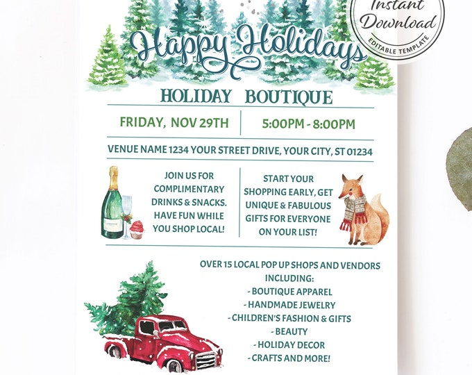 Holiday Boutique Flyer | Editable Digital Template | Personalize and Print | Christmas Gift Pop Up Corporate Idea | Company or Family Party