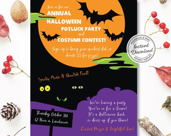 Halloween Potluck Flyer | Editable Digital Template | Personalize and Print | Carving & Costume Contest Corporate Idea | Company or Family