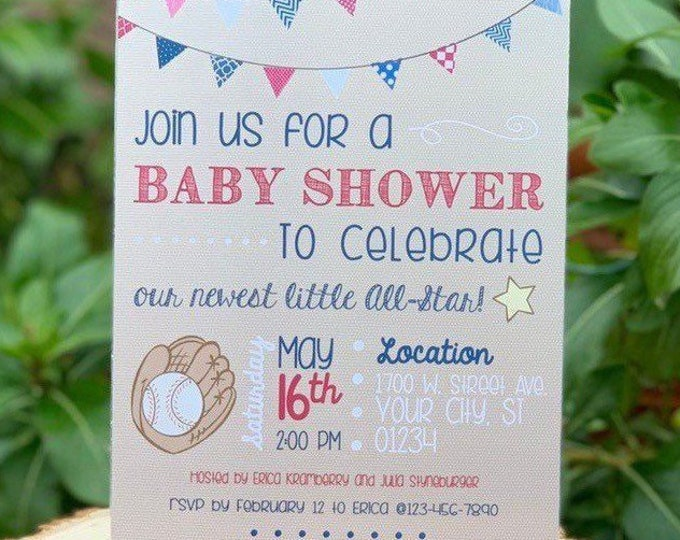 Vintage Baseball Baby Shower Party Invitation, Glove and Ball Theme Invite, Little All Star, Little Slugger Baby Sprinkle boy or girl design