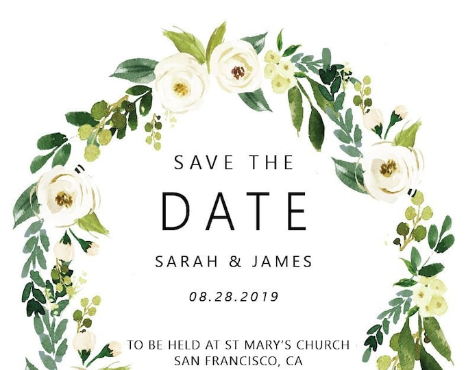 Save the Date, White Floral Wreath Watercolor Design with Roses and Leafy Greens