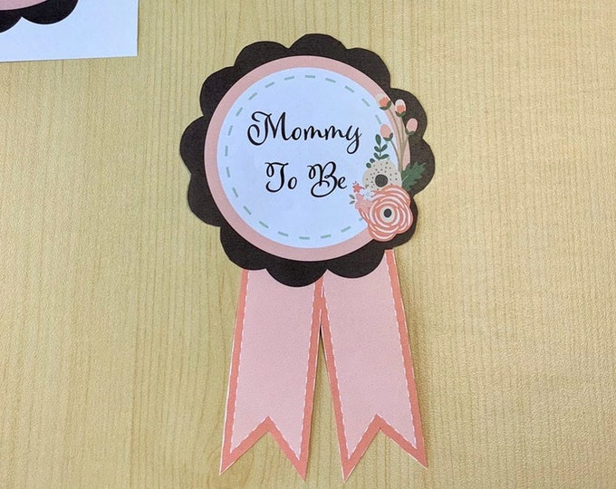 Baby Shower Mom to be Pin Printable DIY Badge Mom To Be Mum To Be Grandma To Be Dad Instant Download Digital Print At Home Decoration
