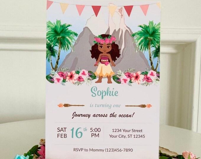 Moana Inspired Birthday Party Invitations, Luau Floral Theme Custom Editable Invite, Baby Toddler Hawaiian Princess Printable and Download