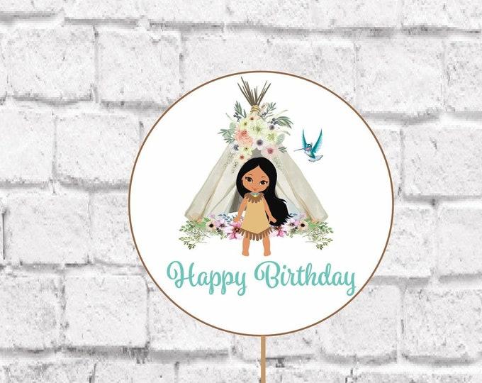 Boho Chic Birthday Cake Topper, INSTANT DOWNLOAD, Pocahontas Birthday Party Cupcake, Native American Princess, Printable, DIY Ideas Decor