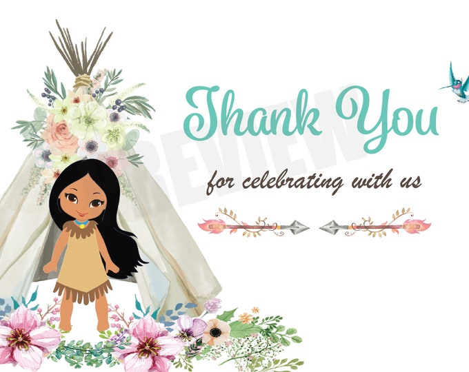 Boho Chic Birthday Thank you Card, Pocahontas Birthday Party, Princess Invitation,  Native American, Pocahontas Party,  Pocahontas Bag Note