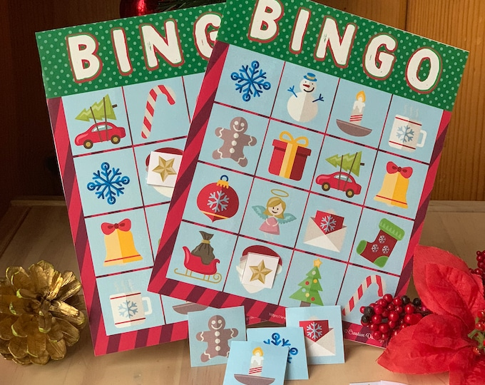 Christmas Bingo Printable cards- 16 in the set. Each feature easily recognizable holiday graphics- perfect for younger kids or older modern