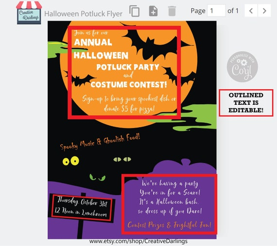 Halloween Potluck Flyer With Sign Up Sheet Editable Digital Template Personalize And Print Carving And Costume Contest Corporate Idea