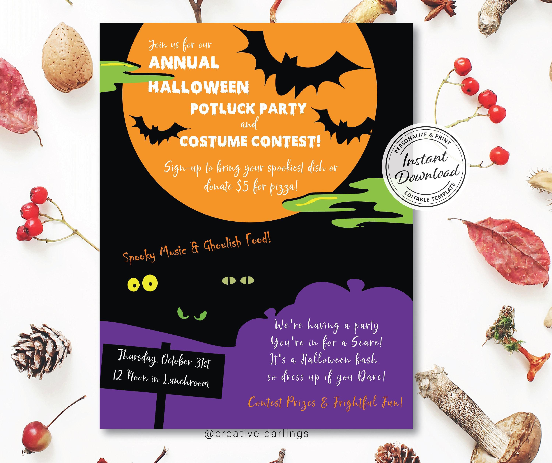 Halloween Potluck Flyer Editable Digital Template