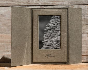 Fine Art Photography, Matted Photo, Matted Print, Home Decor, OOAK Greeting Card, Sympathy Gift, Antique Mat w/ Original Print, Gray, White