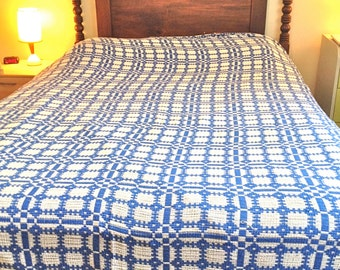 """Vintage Bedspread in Blue and White - Pom Pom Border Bed Cover - 83"""" by 97"""""""
