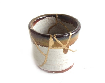 Brown and Gray Kintsugi Inspired Short Vase Gold Repaired Second Hand Pottery