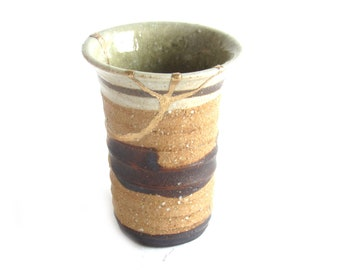 Earth Color Unglazed Kintsugi Inspired Vase Gold Repaired Second Hand Pottery