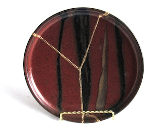 Red and Black Kintsugi Inspired Plate Gold Repaired Second Hand Pottery
