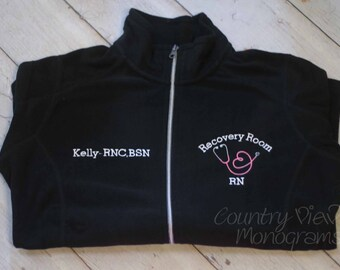 Recovery Room RN BLOCK Loop Stethoscope- OR Surgery Nurse Fleece Jacket with Name on Right chest- zipup light or heavy weight fleece jacket