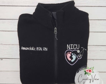 NICU Nurse Fleece Jacket with Heart FootPrints Stethoscope -RN Lpn zipup fleece jacket with several color options-Girls Secr LAVENDER