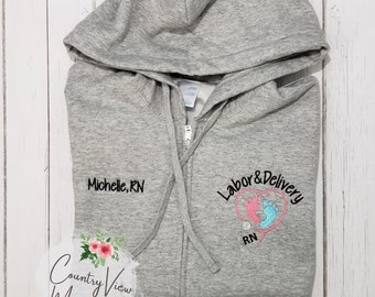 Ladies Labor and Delivery Themed Full Zip Hooded Sweatshirt-- zip up ladies sweatshirt jacket with several color options CutieP LPC78ZH