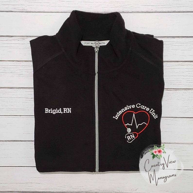 137aa659 Intensive Care Unit ICU BLOCK Nurse Fleece Jacket with Name | Etsy