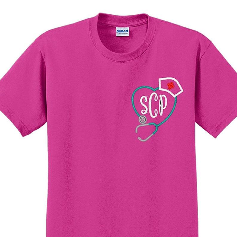Stethoscope Monogram Nurse Short Sleeve ShirtUnisex fit image 0