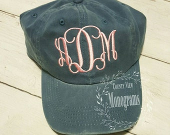 Women's Monogrammed Garment Dyed Cap or Hat--Custom Made to order Embroidered Distressed Cap with Pigment Dye