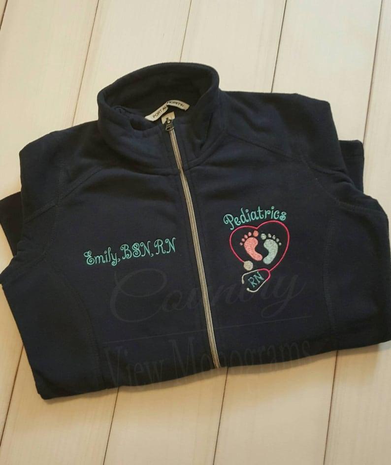 f938ac5c Pediatrics Nurse Fleece Jacket with FootPrints Stethoscope RN | Etsy