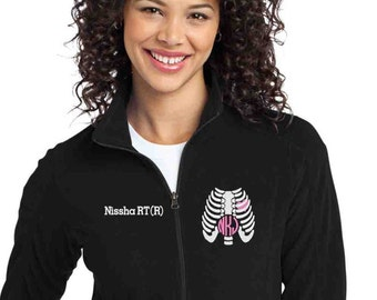 Radiology Tech Fleece Jacket with Chest Xray symbol and monogram- zipup light weight fleece jacket with several color options