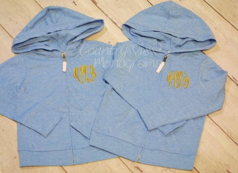 Childrens Monogrammed Custom Zip up JacketGirls sizes image 0