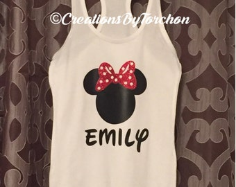 Minnie Mouse Inspired Racer Back Tank
