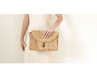 Hand Woven Clutch Bag With Wristlet