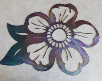 Metal Flower Wall Art purple and blue