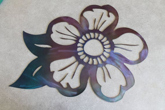 Metal Flower Wall Art Purple And Blue Etsy