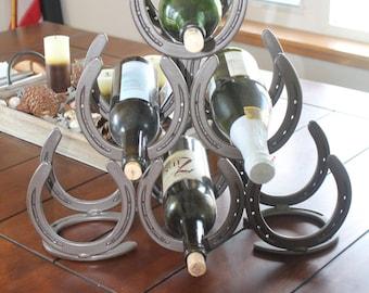 Horseshoe wine rack pyramid 6 place