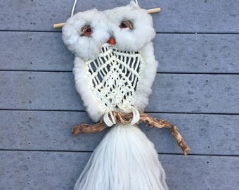 ON SALE! Vintage 3ft Long Macrame White Owl and Wood Retro Wall Hanging