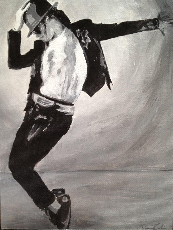 Schwarz-Weiß-Malerei von Michael Jackson Jackson der König | Etsy