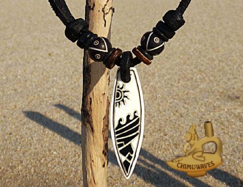 c392dd2d20 Surferkette Surfbrett Welle Kette Lederhalskette Damenkette | Etsy
