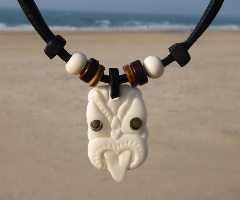 Handmade Surfer Leather Wave Necklace Twist Maori Carved jewelry Lady Necklace New Zealand Chimuwaves Surf Beach Girls